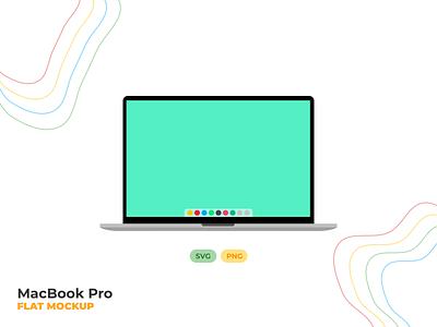 MacBook Pro Flat Mockup freebies freebie apple macbookpro macbook mockup png svg mockup macbook illustration graphics designer illustrator flat minimal