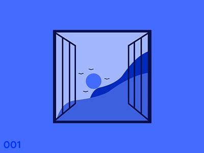 Blue Early Morning Illustration monochrome landscape sun blue figma morning clean illustration graphics designer illustrator flat minimal