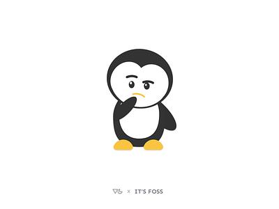 Thinking Penguin animated gif emotion vector tux penguin linux thinking illustration design graphics designer illustrator minimal flat figma emoji clean avatars avatar animals animal