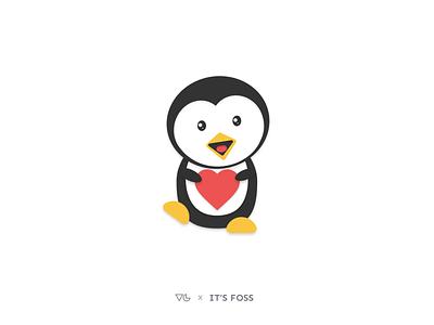 Penguin with Heart love heart avatars avatar animals animal emojis emoji emotion linux tux figma vector icon illustration clean graphics designer illustrator flat minimal