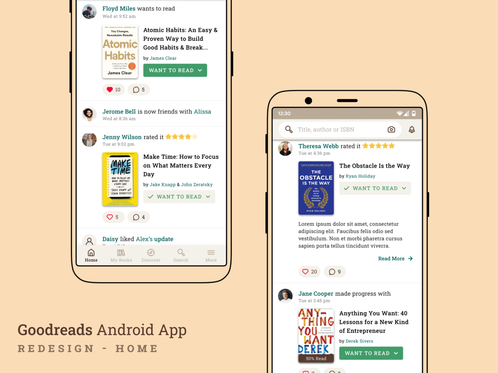 Goodreads Android App - Redesign - Home