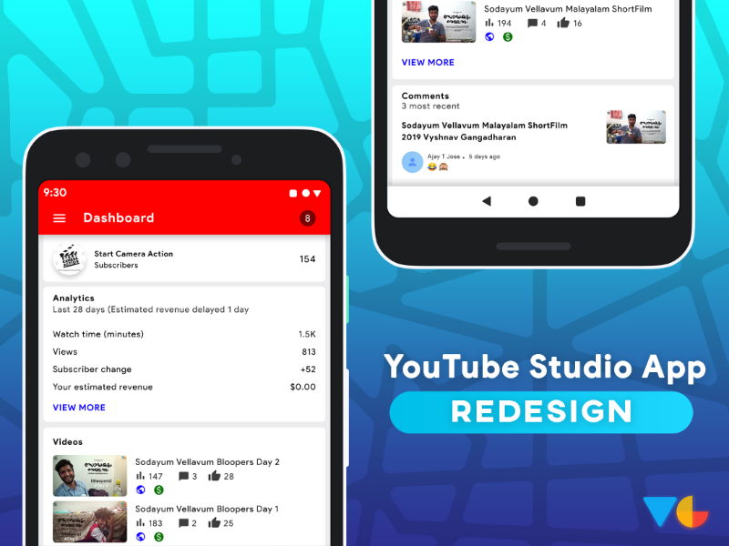 YouTube studio App Redesign