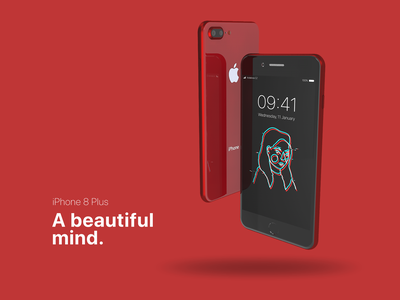 iPhone 8 Plus: A beautiful mind render model product mobile phone red 3d graphics iphone 8 plus iphone cinema 4d 3d