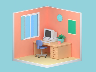00s workspace 00s mug room plant windows xp computer play doh low poly clayrender cinema 4d clay isometric 3d