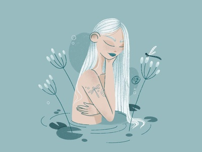 Dragonfly tattoo dtiys charachter procreate illustration illustrator draw woman in water female portrait water dragonfly