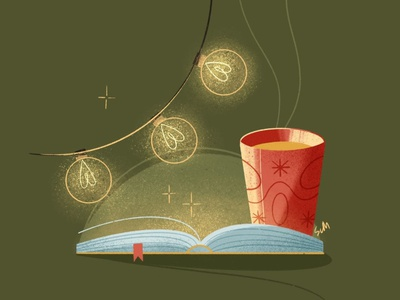 Warm and cozy illustration light bulbs warm reading book reading cozy