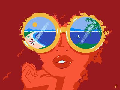 Beach Glasses summertime ocean tropical design vacation sun beach summer digital art editorial illustration lifestyle illustration illustration