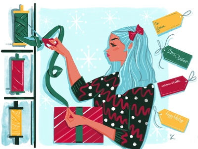 Holiday cutting ribbon celebrate gifts holiday sweater editorial illustration digital art lifestyle illustration fashion illustration holiday design