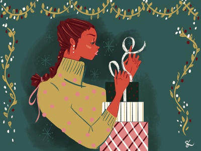Holiday wrapping festive design celebrate gifts christmas holidays digital art editorial illustration lifestyle illustration fashion illustration