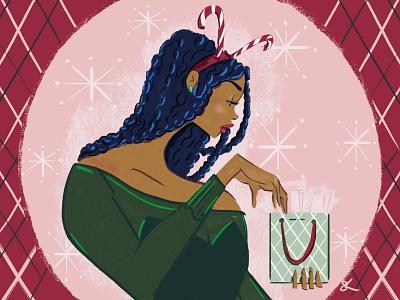 Holiday Gift Bag celebrate gifts candy cane christmas holiday illustration digital art editorial illustration lifestyle illustration fashion illustration