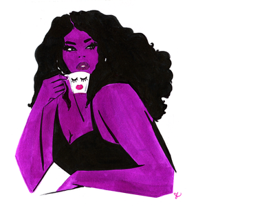 Cafecito purple hair cafe coffee make up woman lifestyle illustration illustration feminine fashion illustration
