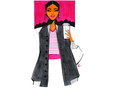 To Go fall coffee woman editorial illustration illustration lifestyle illustration design feminine fashion illustration