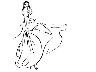 Dress flow licensing editorial bridal celebrate fun gown dress woman editorial illustration feminine illustration lifestyle illustration fashion illustration