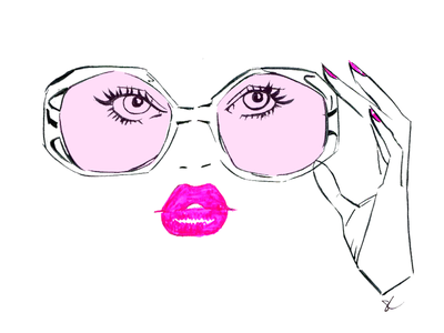 Glasses with Pink feminine fashion pink sunglasses shades make up woman editorial illustration lifestyle illustration illustration fashion illustration