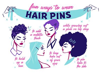 Hair Pin Fun texture make up celebrate bridal fashion illustration design woman editorial illustration lifestyle illustration beauty logo feminine digital art illustration art illustration hair infographic