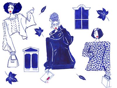 Sweater weather design feminine texture editorial illustration woman lifestyle illustration illustration blue ink hand drawn windows weather leaves fall party editorial fashion illustration fall fashion