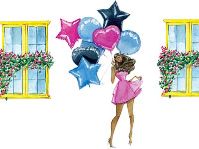 Birthday Balloons walk watercolor flowers windows dress celebrate editorial illustration design woman lifestyle illustration feminine fashion illustration illustration watercolor texture balloons birthday bash