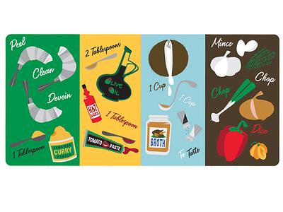 Illustrated Recipe - Coconut Curry Shrimp illustrated recipe digital art design lifestyle illustration lifestyle illustration food recipe