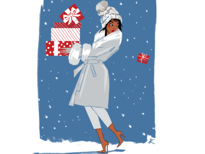 Holiday Gifts christmas presents boots coats winter gifts holidays digital art design celebrate editorial illustration woman lifestyle illustration feminine illustration fashion illustration