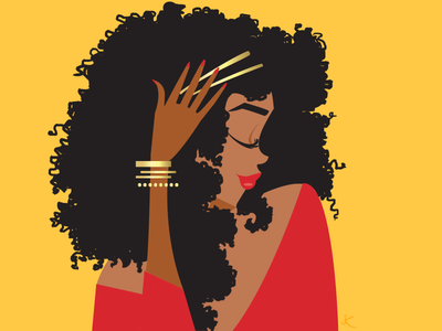 Golden red jewels gold curly hair natural hair hair digital art editorial illustration design feminine woman lifestyle illustration illustration fashion illustration