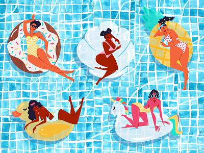 Floaties editorial illustration fashion illustration licensing contemporary womens travel tropical illustration publishing floats summer editorial