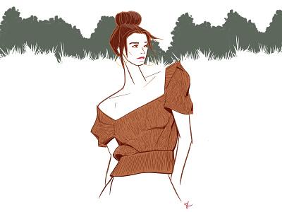 Fall woman lifestyle illustration feminine fashion illustration editorial illustration fashion fall