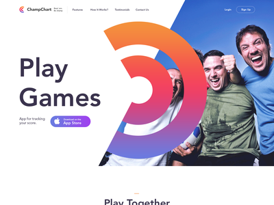 A piece of simple landing page for sport app fresh landing page game creative run sport app web design clean
