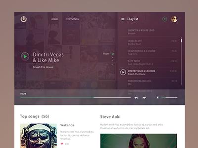 Online player  music mp3 ui header fresh photoshop icon blur player web design clean