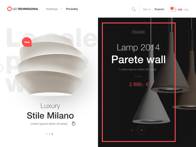 Luxury e-commerce furniture e commerce light luxury webdesign lamp black layout clean redesign shop