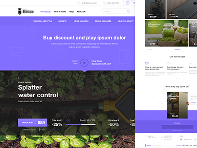 Discount Website ui ux header play layout fresh web design web price discount flat sale