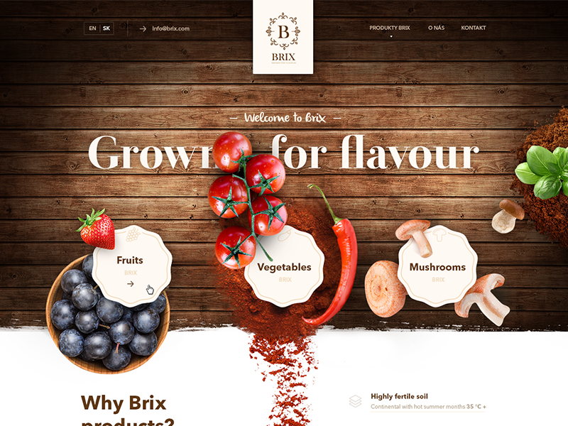 Traditional web page for Brix fruits, vegetables, mushrooms slovakia beer jewelry grow restaurant vintage luxury web vegetable fruit food flavour