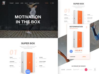 Run&Co the box for run landing page health flat web startup clean design sport running run
