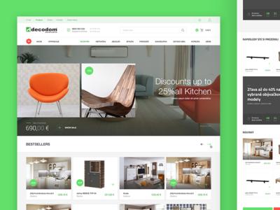 Decodom homepage  interior green header table store e commerce layout clean web design furniture design