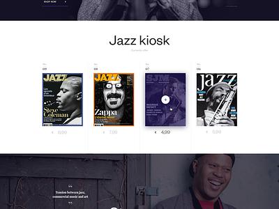 Web site of magazine Jazz jewelry shop sound music article blog header jazz e commerce magazine luxury web design