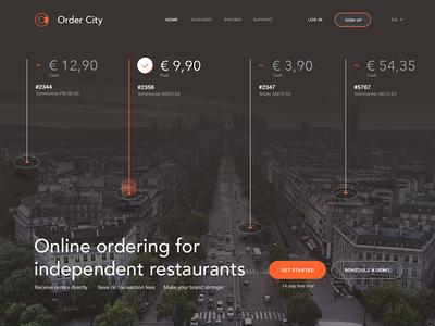 Ordering system - landingpage engineer ui stats diagram restaurant digital flat city food webdesign order