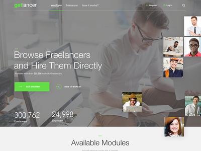 Homepage employees header search photos green ui job clean landing page freelancer homepage web design