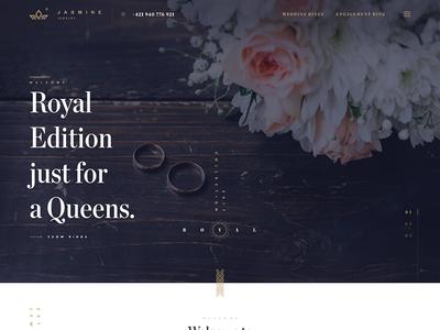 Jasmine web site jewelry luxury web design homepage store ring gold handmade shop wedding fashion slovakia