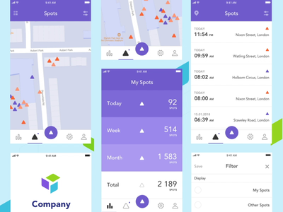 iOS app animation iphone appdesign graph colorfull navigation dashboard stats gps map ios design interface mobile ux ui