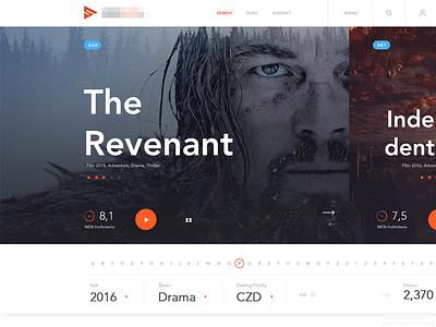 Online service watching movies online tv clean interface header webdesign luxury play filter video app movie