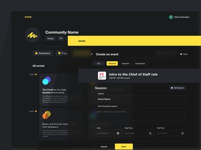 event_dark mode layout responsive minimal design interface website clean web ui sketch