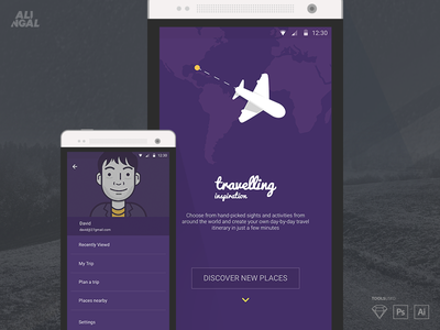 Travelling App unique freebies planning typo sketch mobile app travelling visual discover ui design