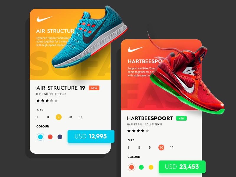 Daily UI #15 - Nike Cards store nike metro ultra material futuristic website design flat modern ui sketch
