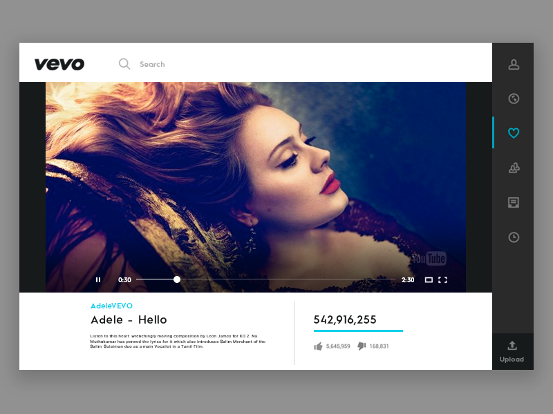 Daily UI #28 - Vevo Video Player by Ranjith Alingal on Dribbble