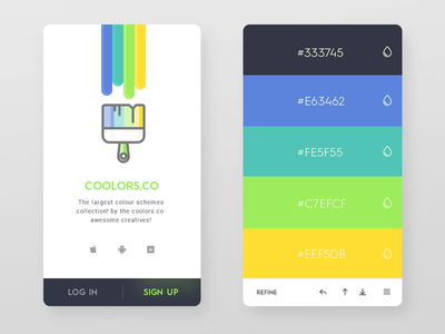 Daily UI #46 - Coolors.co scheme knob generate colour search ios9 card 2d icon app minimal clean
