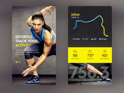 Daily UI #54.1- Fitness Tracker ios animation app android fitness icons material speed tracker achievement graph run