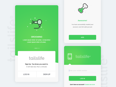 Tailslife: Login sketch pet icon ux interface app ui tailslife search android material design