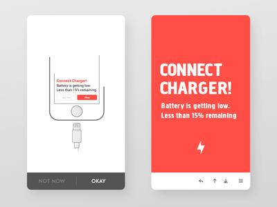 Alert low battery alert concept clean minimal pinterest inspiration vectors illustration
