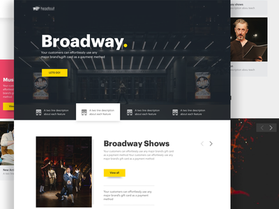 Broadway. web responsive payment mobile layout interface play show micro website landing broadway