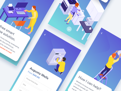 Z   Features homepage icon illustrations landing page layout mobile payment process ios app webapp