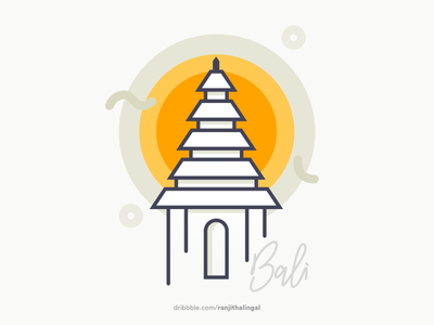 Bali bali city icon illustration indonesia line patches temple vector